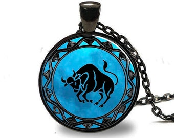 Taurus Pendant, Taurus Necklace, Taurus Jewelry, Taurus Charm, Black (PD0342)