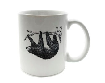 SLOTH Just Hanging  - 11 ounce DISHWASHER / Microwave Coffee Mug - Superb GIFT - May Add Own Text