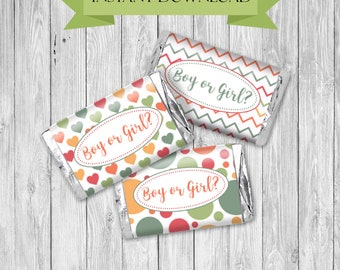 Gender Reveal Mini Hershey Wrappers INSTANT DOWNLOAD Boy or Girl Thank you for Coming Favors Polka Dots Baby Shower Printable Wrappers