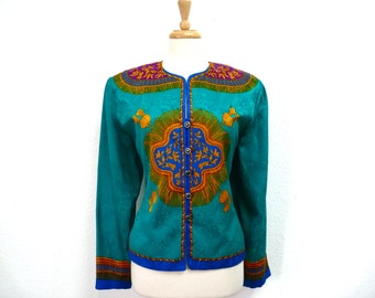 80s Silk Blouse Golden Tassel print Turquoise blue by Adrianna Papell I.Magnin Long Sleeve Women Size L