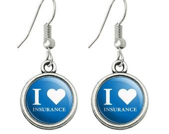 I love insurance novelty dangling drop charm earrings