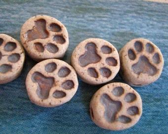 10 Tiny Dog Paw Print Beads - CB636