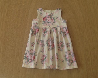 Cream floral dress // party dress // baby and toddler girl // // NB 3 6 12 18 months, size 2T, size 3T dress //