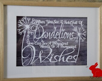 Dandelion A Thousand Wishes Papercut Paper Cutting papercutting jpeg Digital Template