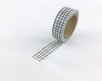 Black and White Modern Grid Pattern Washi Tape // 15mm // Paper Tape // BBB supplies // CR-W-P520