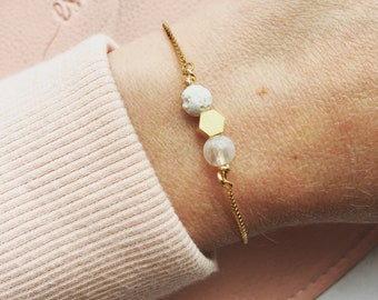 Lava and moonstone essential oil bracelet, essential oil bracelet, adjustable gold bracelet