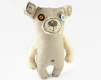 Stuffed Teddy Bear, Personalized Bear, Soft Teddy Bear, Kids Room Decor, Linen Toy, Bear Toy, Soft Toy, Birthday Gift