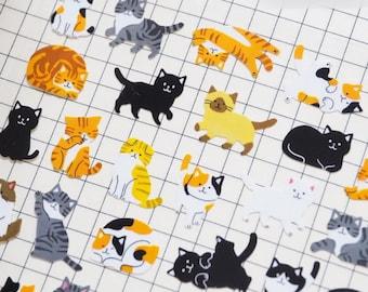 Cute posture cats sticker sheet x 1