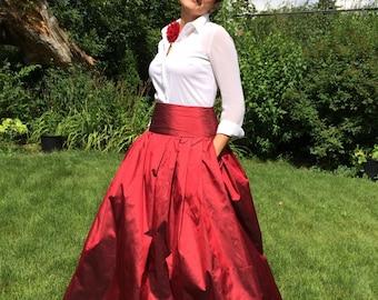 Beautiful Ball Dupioni Silk Skirt, Made to order, elegant skirt, brides maid skirt, maxi skirt