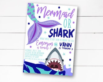 Mermaid and Shark Invitation, Mermaid and Shark Sibling Invitation, Joint Birthday Party Invite, Under the Sea Party, DIY or Printed