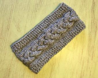 Blue knitted headband