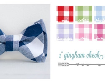"Bow Tie, Mens Bow Tie, Bowtie, Bowties, Bow Ties, Bow Ties For Men, Groomsmen Bow Ties, Wedding Bowties, Ties - 1"" Gingham Check Collection"