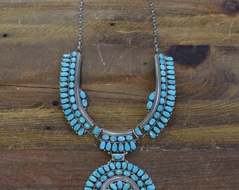 Vintage Navajo Turquoise Cluster Sterling Silver Necklace
