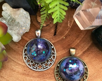 Celestial crystal healing necklace - galaxy gluid art with amethyst