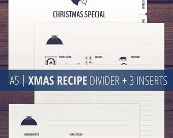 Recipe Templates / A5 Recipe Cards / Christmas Recipe Pages / Recipe Divider and Inserts / Printable Recipe Binder / Minimalist, clean / PDF