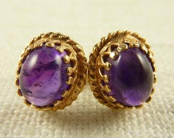 WW) Vintage 14K Gold Amethyst Stud Post Earrings