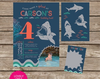 DIY Printable Blue Shark Birthday Invitation Kit - Invite AND Thank You Card included
