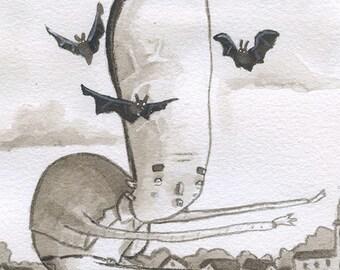 Frankenstein - Original Watercolor - Mab's Drawlloween Club Day 13
