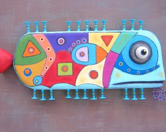 Wild Tuna, Original Found Object Wall Sculpture, Wood Carving, Fish Wall Art, Abstract Art, Contemporary Craft, by Fig Jam Studio
