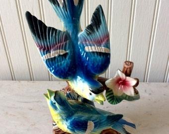 "Porcelain 8.5"" Blue & Yellow, Bird Figurine, Bluebird, Blue Bird, Bluejay, Pacific, Japan, Cottage, Coastal, Farmhouse"