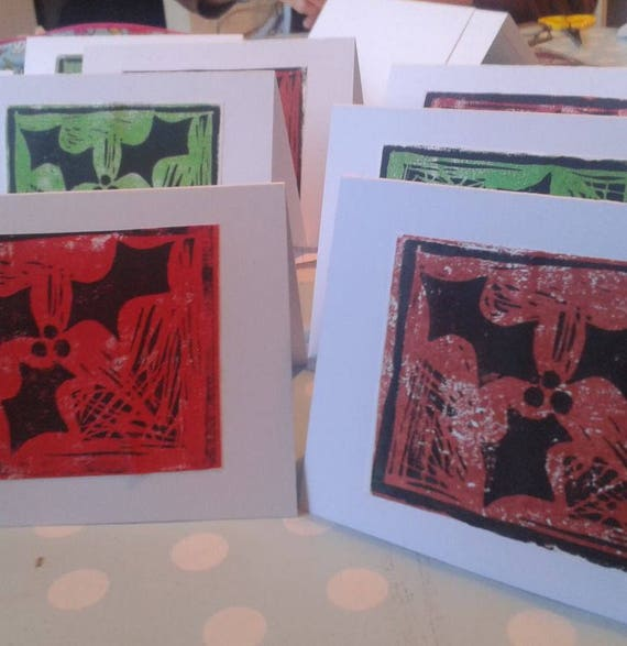 Lino printed Christmas cards