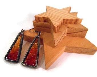 Amber Earrings Stained Glass Earrings Glass Metal Jewelry Handmade Earrings Triangle Earrings Amber Glass Jewelry Long Drop Dangle Earrings