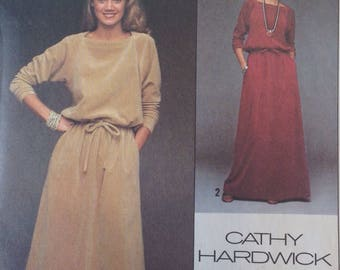 Simplicity 8652 Sewing Pattern / Designer Cathy Hardwick / Misses' Pullover Dress in Two Lengths  / size 16 / 1978