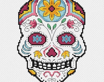 Cross stitch pdf file of Day of the Dead sugar skull - Vincente. Download available once payment is received.