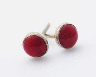Red Coral Sterling Silver 4mm Stud Earrings