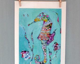 Seahorse Art Print, Wall Decor, Kids Art, Nursery Decor, Wall Art, Colorful Art, Quirky Art, Art Gift, Sea Art, Choose fm 3 different sizes