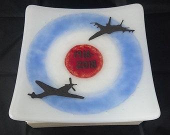 RAF100 Anniversary Fused Glass Dish 20cm