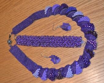 Purple necklace, bracelets, earrings