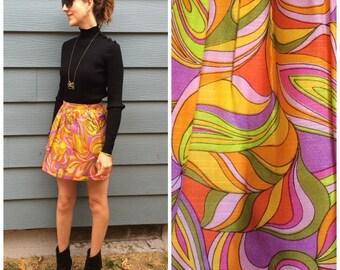 Mini Skirt 60s Pucci Esque XXS Vintage Print Psychedelic 1960s Miniskirt
