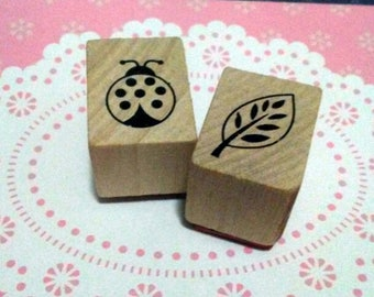 Lady Bug and Leaf Recollections Wood Mounted Rubber Stamp Set Of 2 Scrapbooking & Paper Craft Supplies