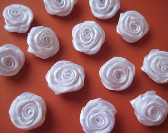 5/8 inch White Flowers Rosettes Appliques for Sewing, Crafting, Scrapbooking, Embellishment, Doll Clothing, Flower Girl, 15 mm, 30 pieces