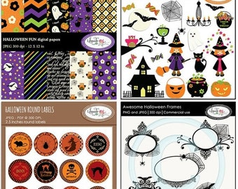 50%OFF Halloween clip art, Halloween digital paper, Halloween digital photo frames and Halloween stickers bundle, B315