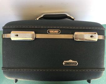 Vintage blue American Tourister Tiara hard shell train case luggage