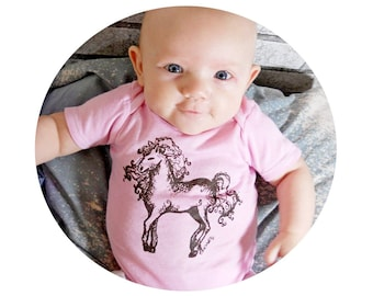 Horse Baby Onepiece, Cotton Infant Bodysuit,  Screenprinted, Light Pink, Baby Girl One Piece, Short Sleeved, Baby Shower Gift, Dressage,