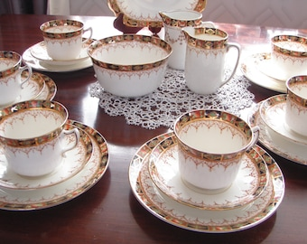 Imari Pattern English Bone China Tea Set Gladstone