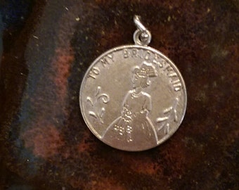 To my bridesmaid token gift vintage sterling charm pendant or keychain charm