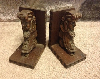 vintage carved wooden book ends