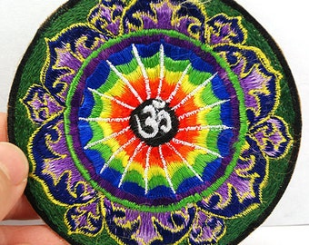 """Nepalese Handmade Sew on Embroidery Patch """"OM"""" Mantra"""