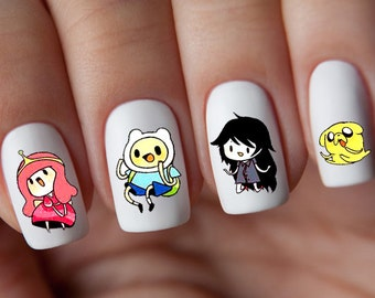 Nail Art Transfers Stickers Water Slide Decals Labels Tattoos Trendy Fashion Popular Style Adventure Time Cartoons Christmas 2017 2018