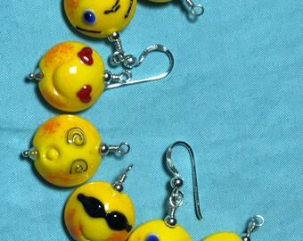 Emoji Enthusiasm lampwork earrings