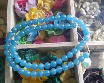 Blue sponge quartz 62 beads with 6mm hole 1 mm