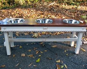 Farmhouse style Elevated Dog Feeder, English Chestnut, White Distressed Base, Large Dogs, Feeding Station, 3 two Quart Bowls, Made To Order