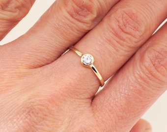 Birthstone ring • stacking ring • simple ring with a 4mm Forever One Charles & Colvard moissanite • great diamond alternative promise rings