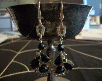 Vintage Black Crystal Gold Rhinestone Upcycled Dangle Pierced Earrings, Upcycled Black Rhinestone Earrings, Holiday Earrings, Woman's Gift
