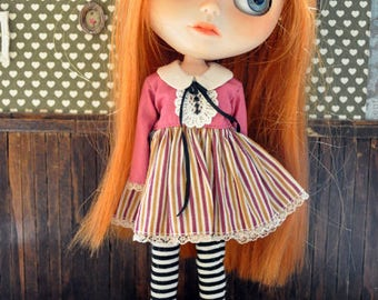 rose stripes dress for Blythe
