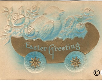 Robbin Egg Blue Airbrushed Heavily Embossed with Gold Gild Accent Chicks in Easter Egg Cart Easter Greeting Vintage Postcard